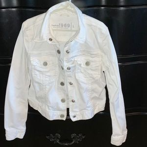 Gap Girls Lightweight White Denim Jacket Size L